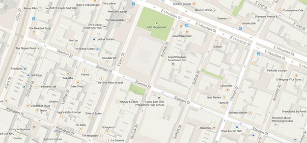 Map of Lower East Side Restaurants