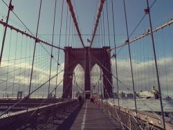 People biking on the Brooklyn Bridge