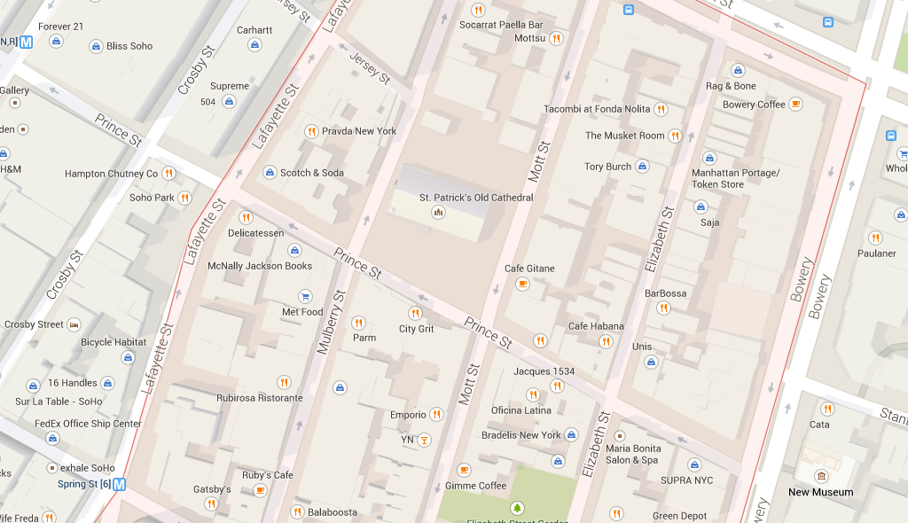 Map of NOLITA NYC Restaurants