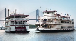 2 riverboats cruising the Savannah river