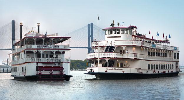 2 riverboats cruising the Savannah river