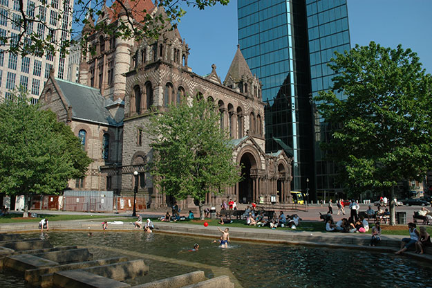 Trinity Church in Boston During The Summer