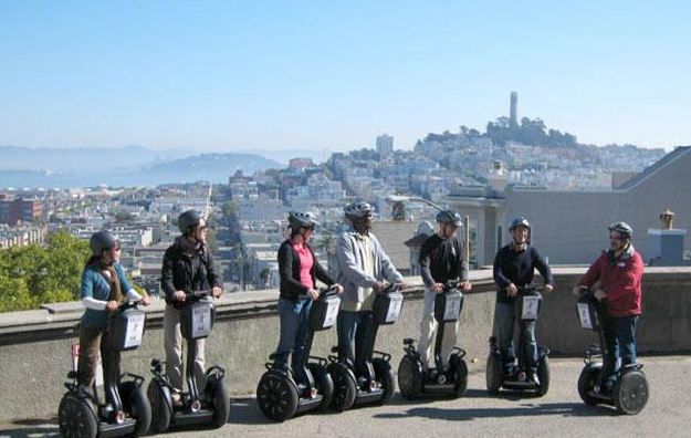 People on a segway tour overlooking San Francisco