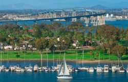Aerial view of San Diego and bridge to Coronado Island for first time visitors to San Diego