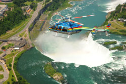 overhead view of helicopter ride flying above niagara falls