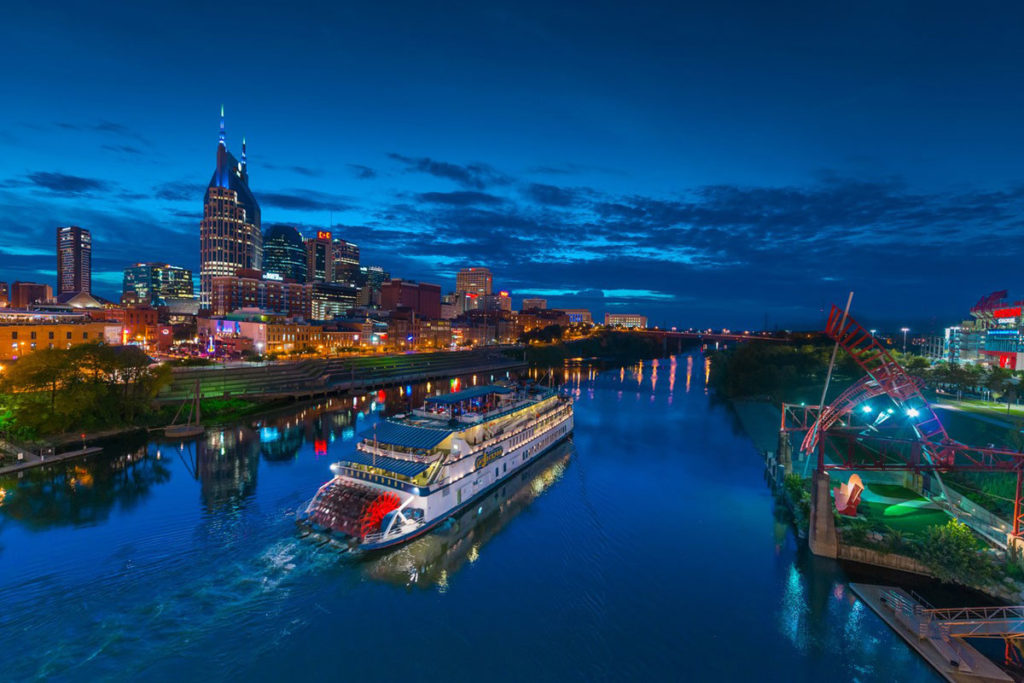 Cumberland River Boat Cruising Nashville At Night