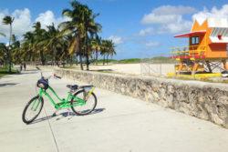 bike on sidewalk during bike tour of miami beach