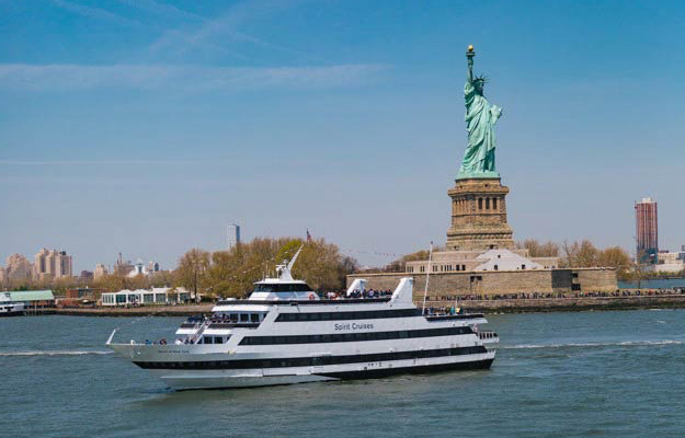 New York Lunch Cruise in Front of Statue of Liberty
