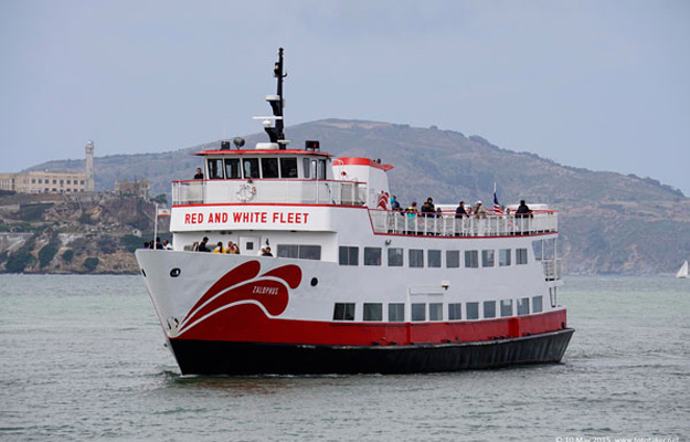 Red and White Ferry in Bay