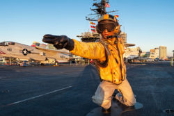 Photo of jet pilot at USS Midway Museum